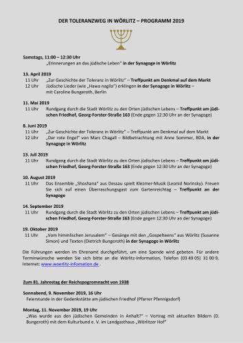 Toleranzweg Wörlitz - Programm 2019
