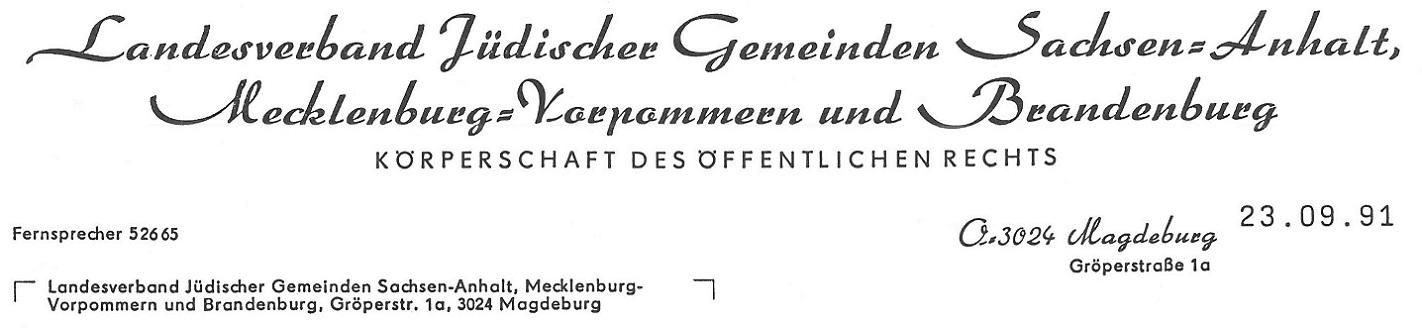 Landesverband Jüdischer Gemeinden Sachsen-Anhalt, Mecklenburg-Vorpommern und Brandenburg