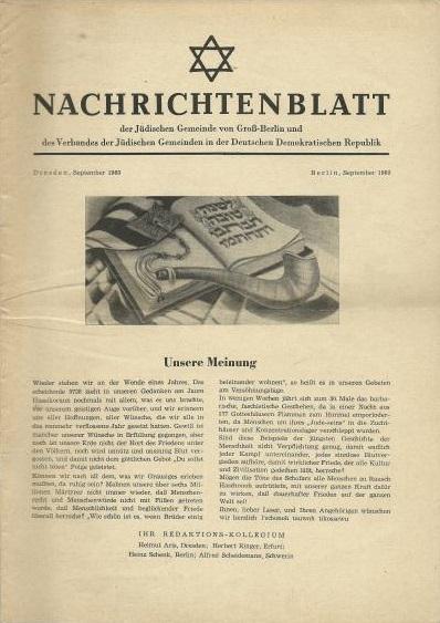 Nachrichtenblatt der Jüdischen Gemeinde von Groß-Berlin und des Verbandes der Jüdischen Gemeinden in der DDR